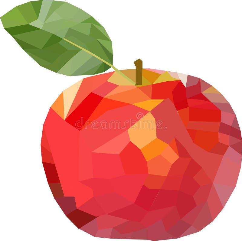 Polygon-Apple-mehrfarbig mit Blatt stock abbildung