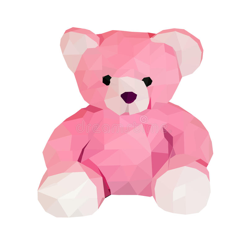 Polygon bear doll. Small. low poly illustration. polygonal animal little bear isolated on white royalty free illustration