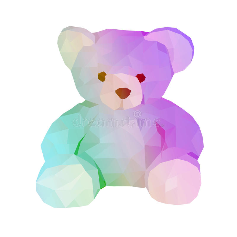 Polygon bear doll. Small. low poly illustration. polygonal animal little bear isolated on white vector illustration