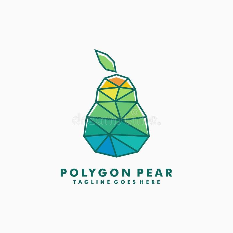 Polygon-Birnen-Konzept-Entwurfsillustrationsvektorschablone stock abbildung