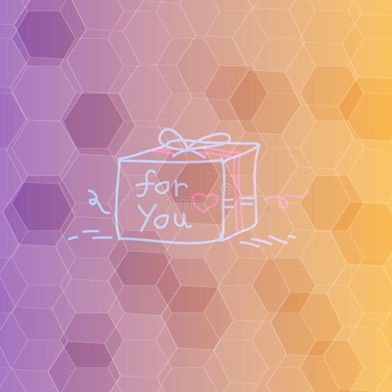 Polygon-Hintergrund und Geschenkbox stock abbildung