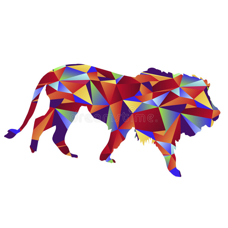 Polygon Lion Icon. An image of a lion - polygon style royalty free illustration