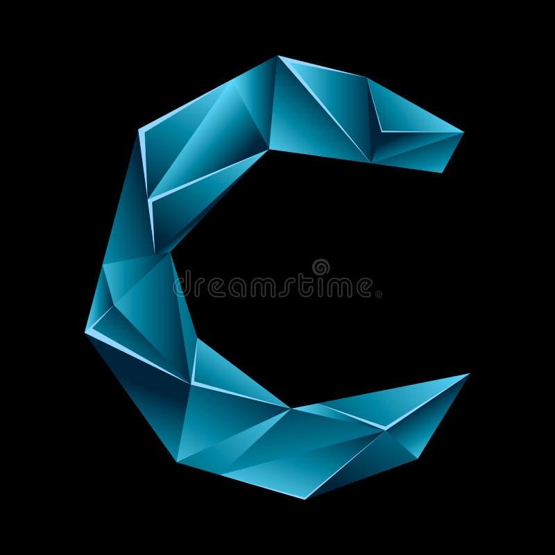 Polygon logo of letter C shape. Alphabet element vector illustration