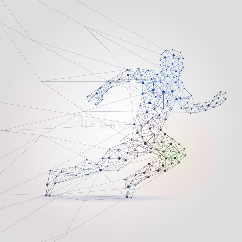 Polygon mesh running male silhouette. Abstract man runner low poly background vector illustration royalty free illustration