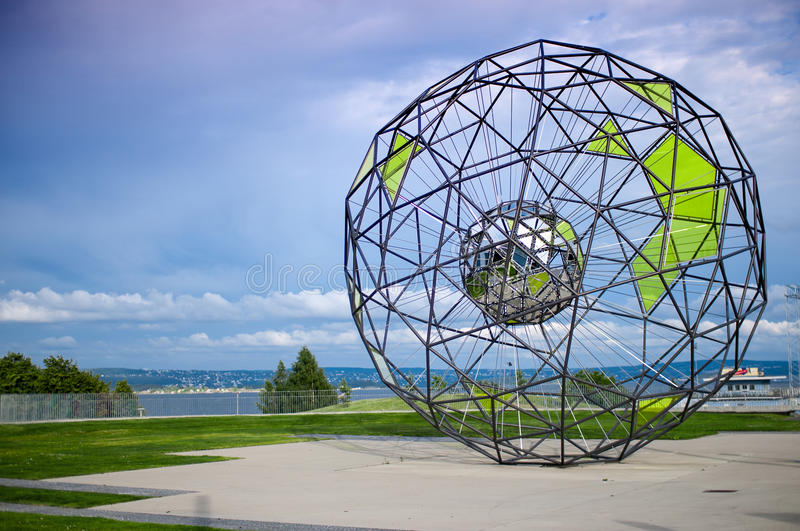 Polygon shaped metallic sculpture, Oslo Norway stock images