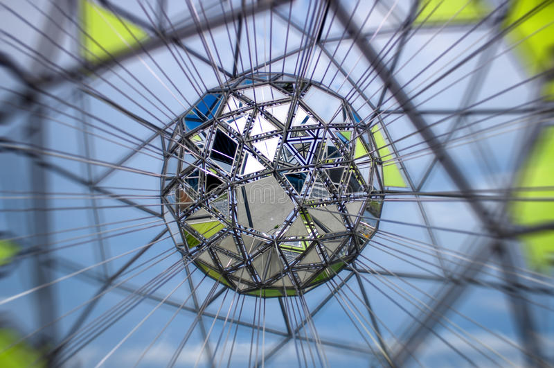Polygon shaped metallic sculpture, Oslo Norway stock image