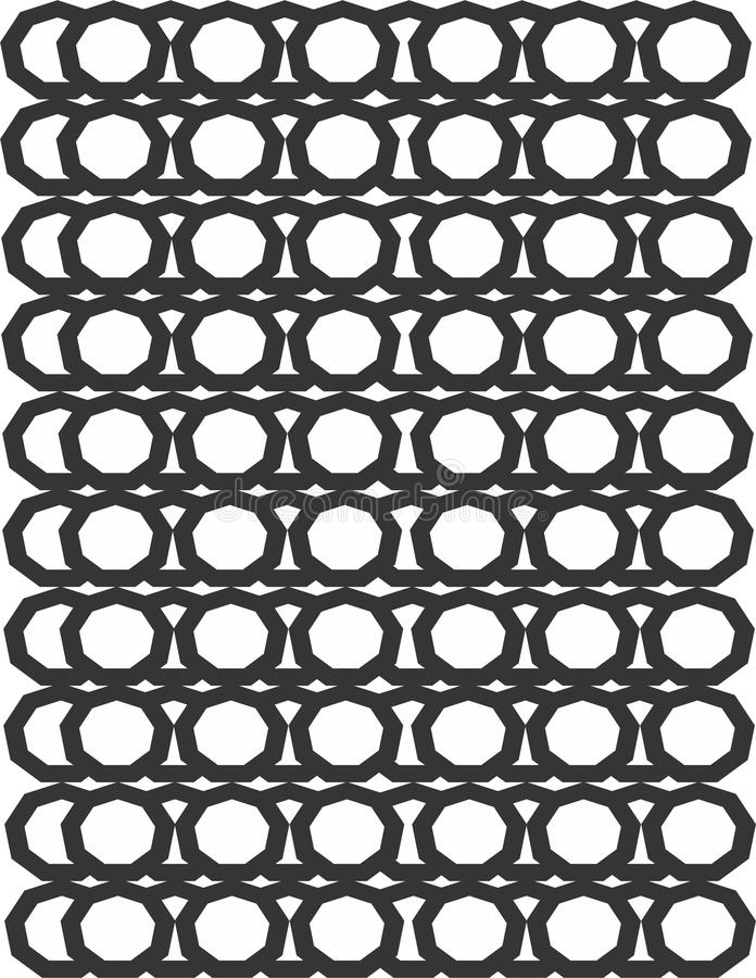 Polygon sides tessellation black and white pattern design. For textile and fabric development and creation stock illustration