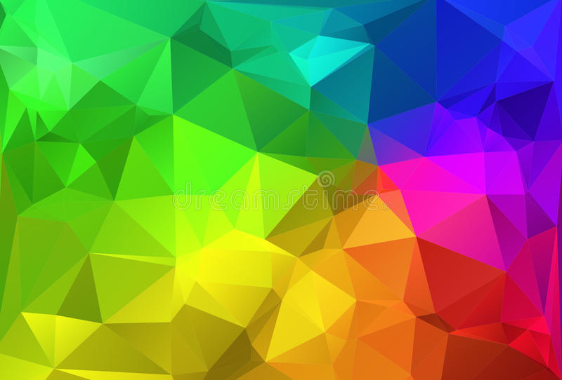 Polygon triangle abstract background colorful rainbow stock illustration