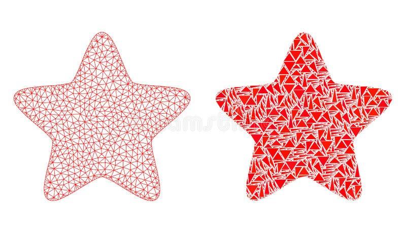 Polygonal αστέρι πλέγματος σφαγίων κόκκινα και εικονίδιο μωσαϊκών διανυσματική απεικόνιση