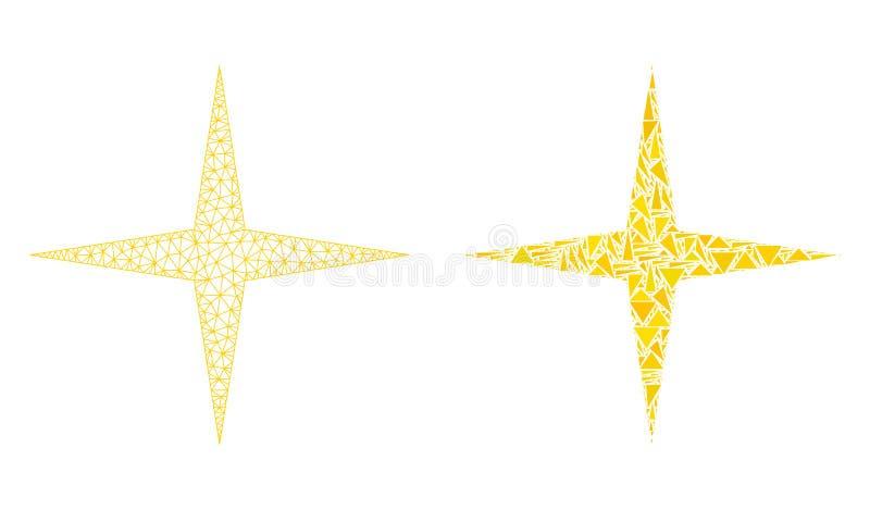 Polygonal αστέρι πλέγματος σφαγίων διαστημικά και εικονίδιο μωσαϊκών απεικόνιση αποθεμάτων