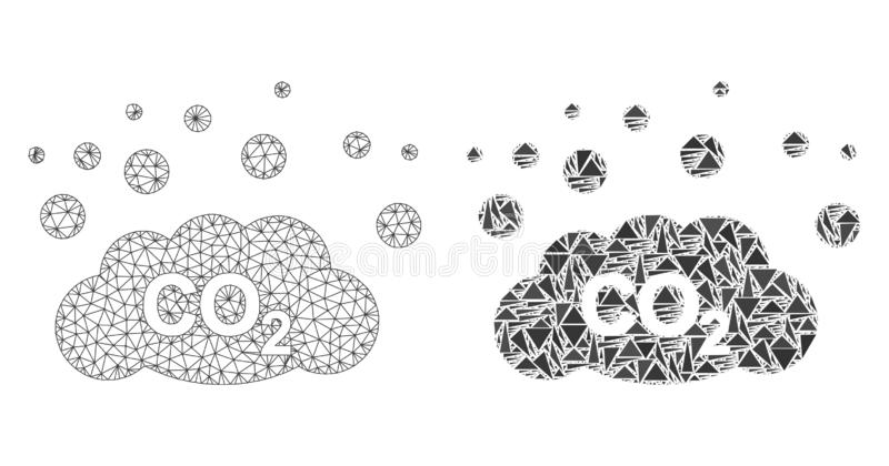 Polygonal 2$α εκπομπή καυσαερίων του CO2 πλέγματος και εικονίδιο μωσαϊκών διανυσματική απεικόνιση