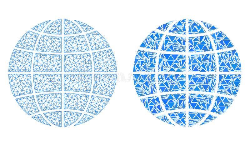 Polygonal 2$α σφαίρα πλέγματος και εικονίδιο μωσαϊκών διανυσματική απεικόνιση