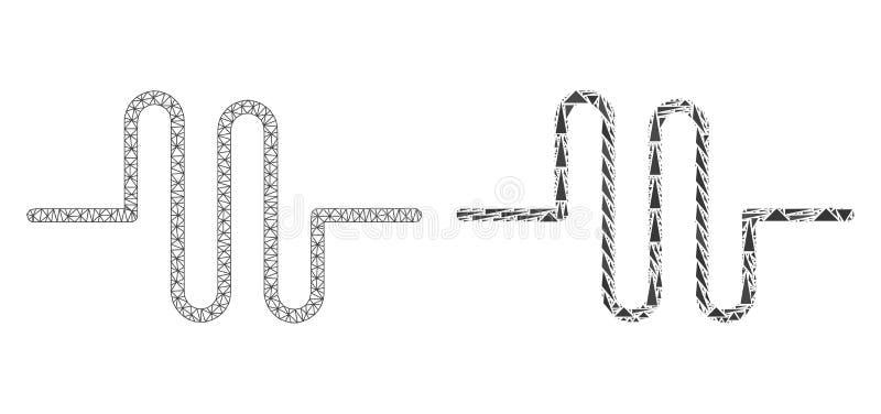 Polygonal 2$α σωλήνωση πλέγματος και εικονίδιο μωσαϊκών ελεύθερη απεικόνιση δικαιώματος