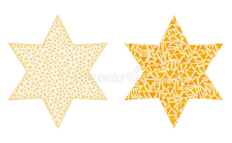 Polygonal 2$ο πλέγμα έξι αστέρι γωνιών και εικονίδιο μωσαϊκών απεικόνιση αποθεμάτων