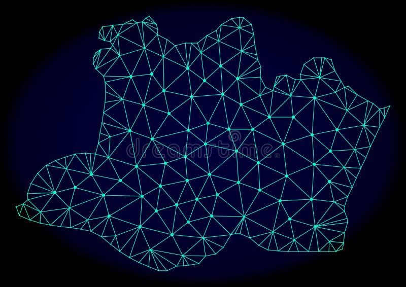 Polygonal διανυσματικός αφηρημένος χάρτης πλέγματος δικτύων του κράτους Amazonas διανυσματική απεικόνιση