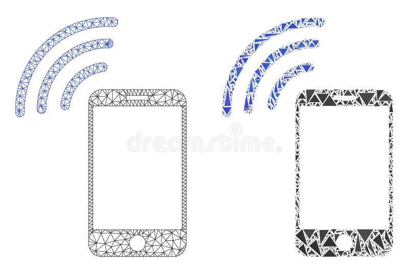 Polygonal σήμα κινητών τηλεφώνων πλέγματος σφαγίων και εικονίδιο μωσαϊκών διανυσματική απεικόνιση