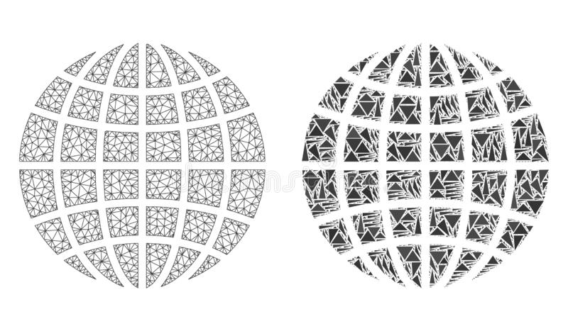 Polygonal σφαίρα πλέγματος δικτύων και εικονίδιο μωσαϊκών απεικόνιση αποθεμάτων