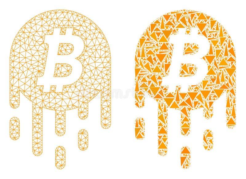 Polygonal πλέγμα δικτύων που λειώνει το εικονίδιο Bitcoin και μωσαϊκών διανυσματική απεικόνιση