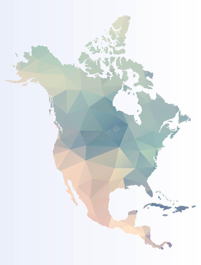 Polygonal översikt av Nordamerika royaltyfri illustrationer
