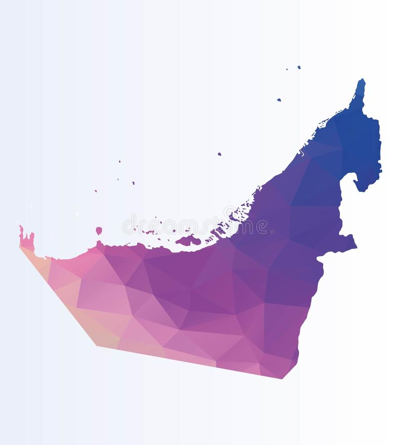 Polygonal översikt av UAE stock illustrationer