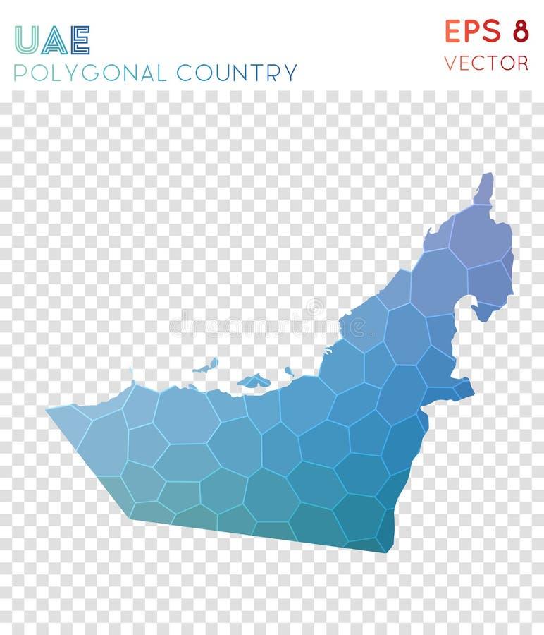 Polygonal översikt för UAE, mosaikstilland vektor illustrationer