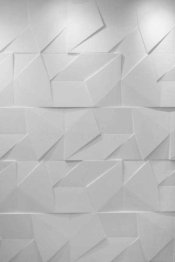 Polygonal άσπρος στερεός τρισδιάστατος τοίχος Υπόβαθρο στοκ φωτογραφία