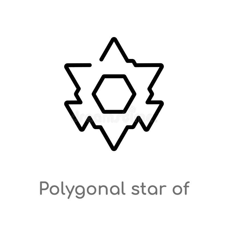polygonal αστέρι περιλήψεων του διανυσματικού εικονιδίου έξι σημείων απομονωμένη μαύρη απλή απεικόνιση στοιχείων γραμμών από την  απεικόνιση αποθεμάτων