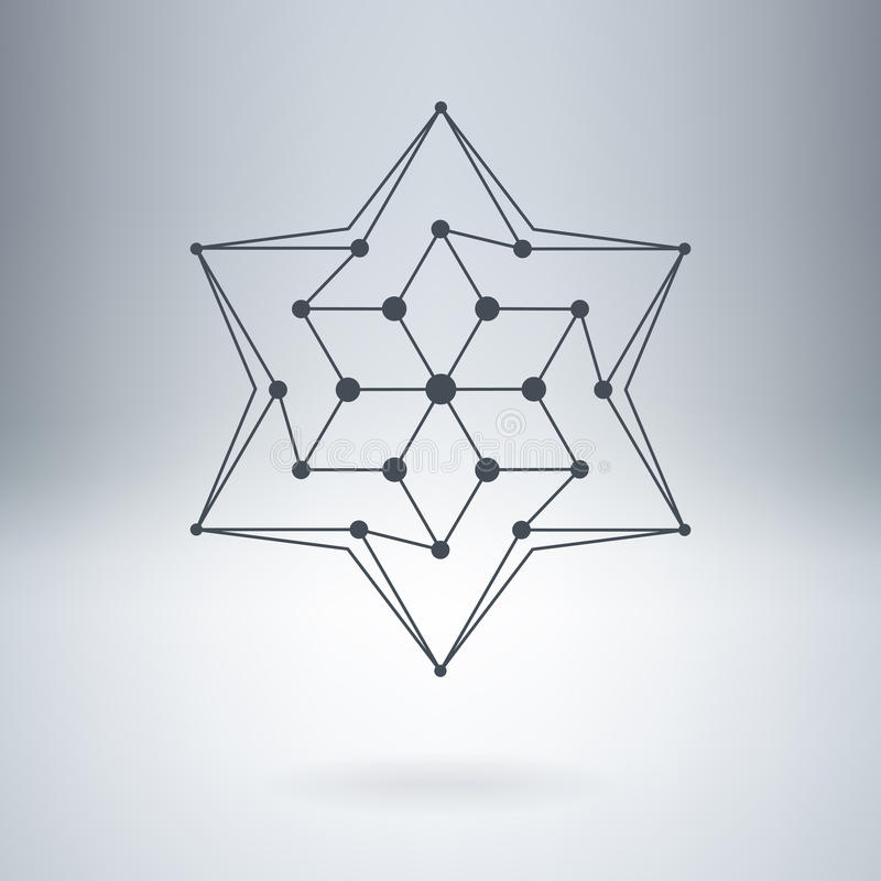 Polygonal αστέρι, σύγχρονο μοντέρνο λογότυπο Στοιχείο σχεδίου με τους κόμβους διανυσματική απεικόνιση