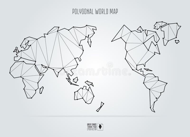 Polygonal αφηρημένος παγκόσμιος χάρτης, Ασία στο κέντρο ελεύθερη απεικόνιση δικαιώματος