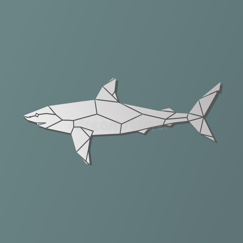 Polygonal γεωμετρικός διανυσματικός γκρίζος καρχαρίας απεικόνιση αποθεμάτων