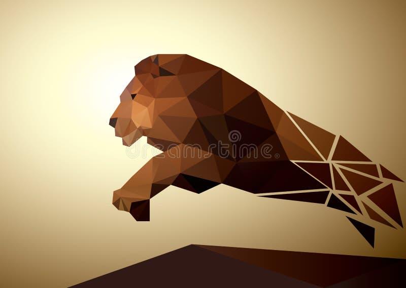 Polygonal γεωμετρικός λιονταριών, σχέδιο σχεδίων ελεύθερη απεικόνιση δικαιώματος
