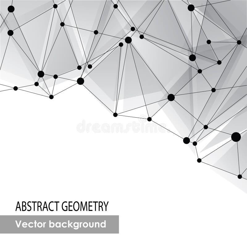 Polygonal γκρίζο υπόβαθρο. Αφηρημένη μοριακή σύνδεση διανυσματική απεικόνιση