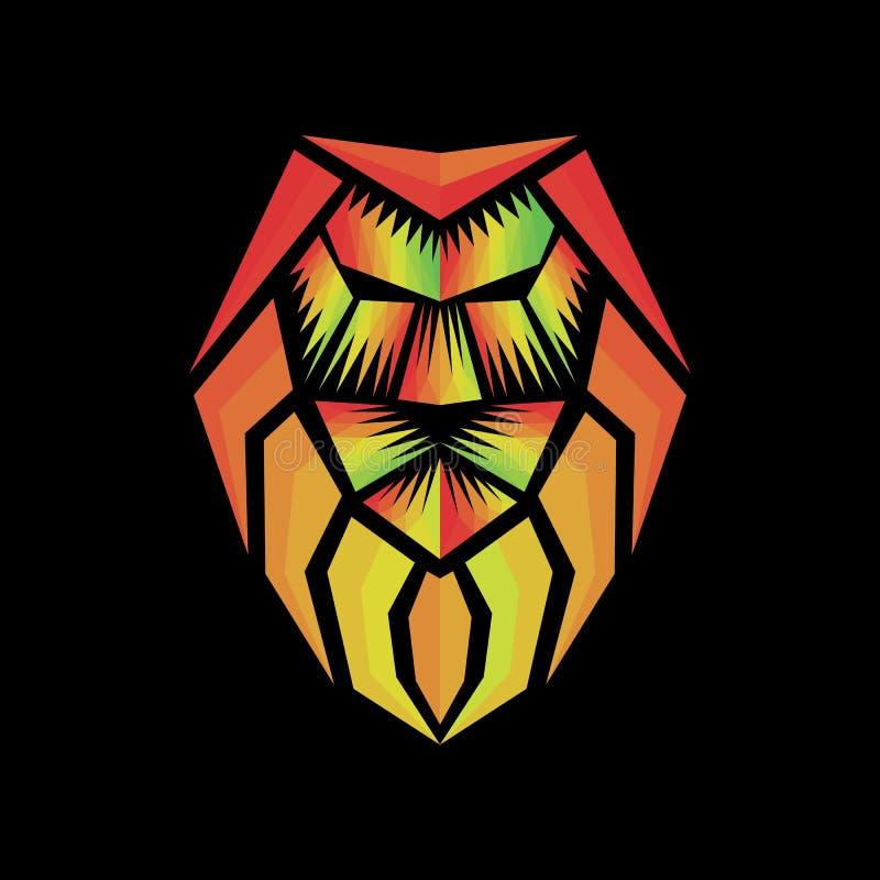 Polygonal διάνυσμα της Τζαμάικας λιονταριών Rasta απεικόνιση αποθεμάτων