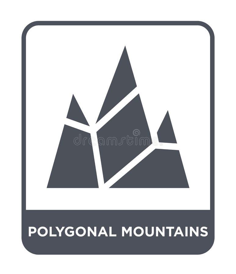 polygonal εικονίδιο βουνών στο καθιερώνον τη μόδα ύφος σχεδίου polygonal εικονίδιο βουνών που απομονώνεται στο άσπρο υπόβαθρο pol απεικόνιση αποθεμάτων
