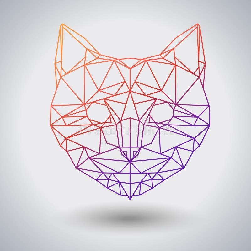 Polygonal ζωική γάτα Hipster Ζώο τριγώνων διανυσματική απεικόνιση