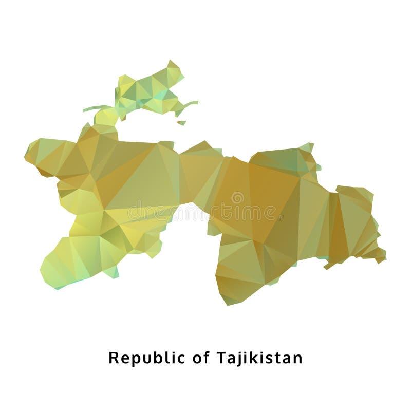 Polygonal δημοκρατία του χάρτη του Τατζικιστάν, γεωμετρικός χάρτης πολυγώνων ελεύθερη απεικόνιση δικαιώματος
