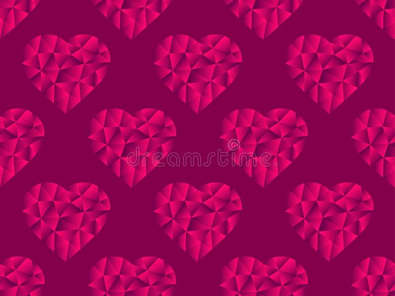 Polygonal κόκκινο χρώμα σχεδίων καρδιών άνευ ραφής Ημέρα του ευτυχούς βαλεντίνου, 14η του Φεβρουαρίου Φωτεινές καρδιές με την κλί ελεύθερη απεικόνιση δικαιώματος