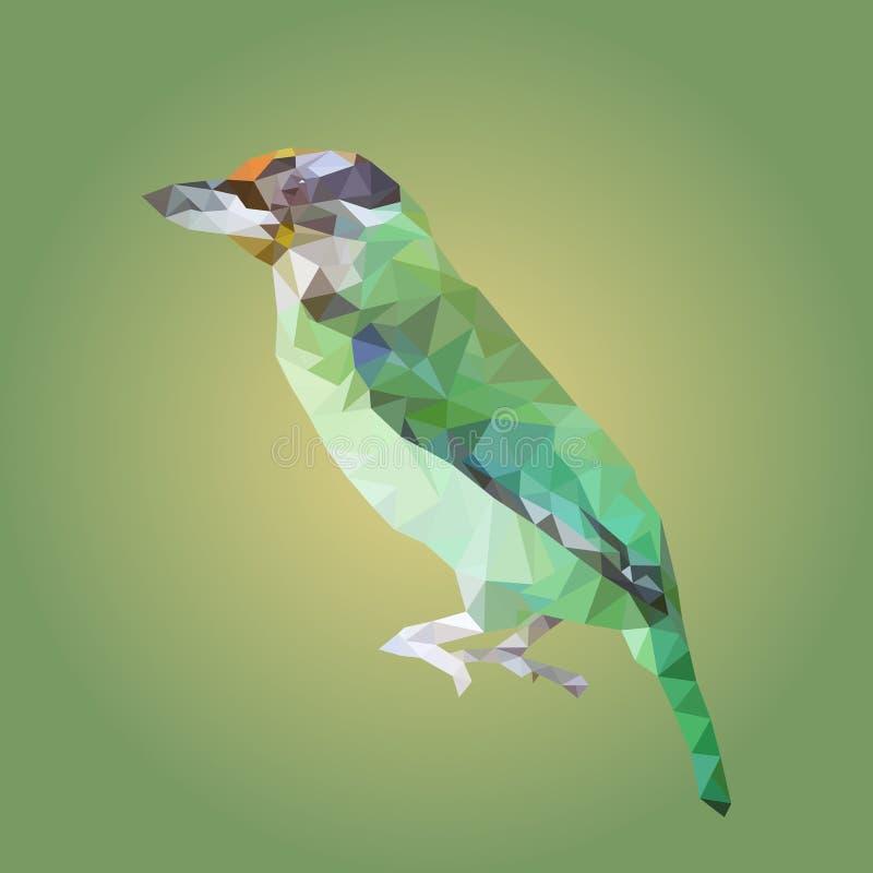 Polygonal μεγαλύτερο πράσινο leafbird, γεωμετρικό ζώο πολυγώνων ελεύθερη απεικόνιση δικαιώματος