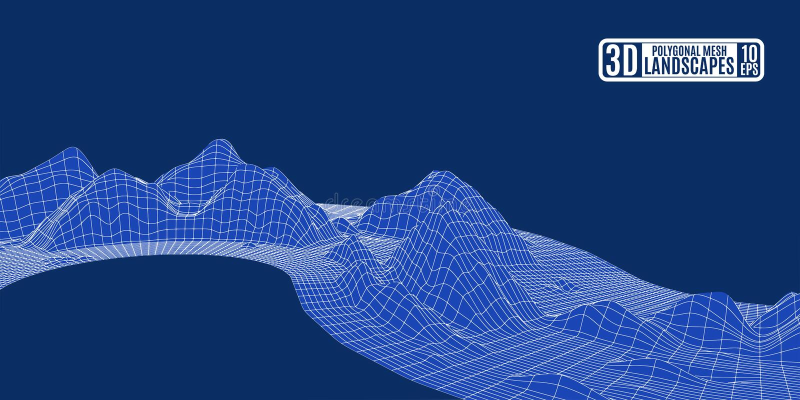 Polygonal μπλε κύμα τοπίων πλέγματος βουνών υποβάθρου για το adver απεικόνιση αποθεμάτων