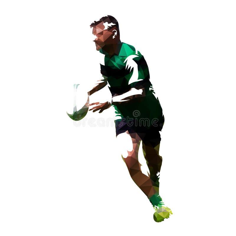 Polygonal παίκτης ράγκμπι που τρέχει με τη σφαίρα διανυσματική απεικόνιση