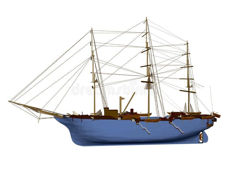 Polygonal πλέοντας σκάφος που απομονώνεται στο άσπρο υπόβαθρο τρισδιάστατος Πλάγια όψη επίσης corel σύρετε το διάνυσμα απεικόνιση ελεύθερη απεικόνιση δικαιώματος