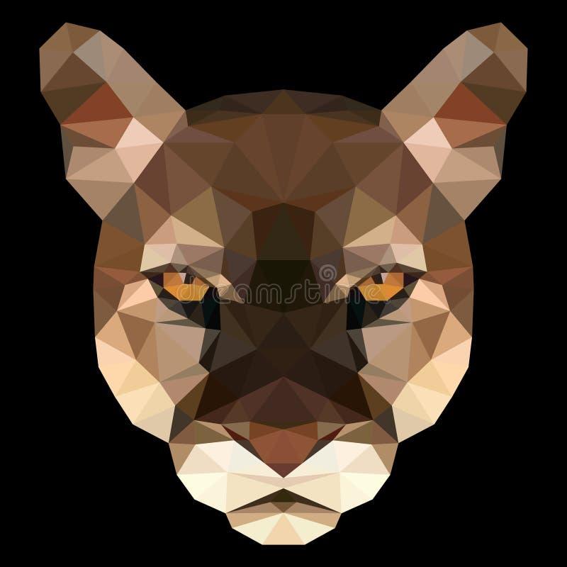 Polygonal πρόσωπο του puma διανυσματική απεικόνιση