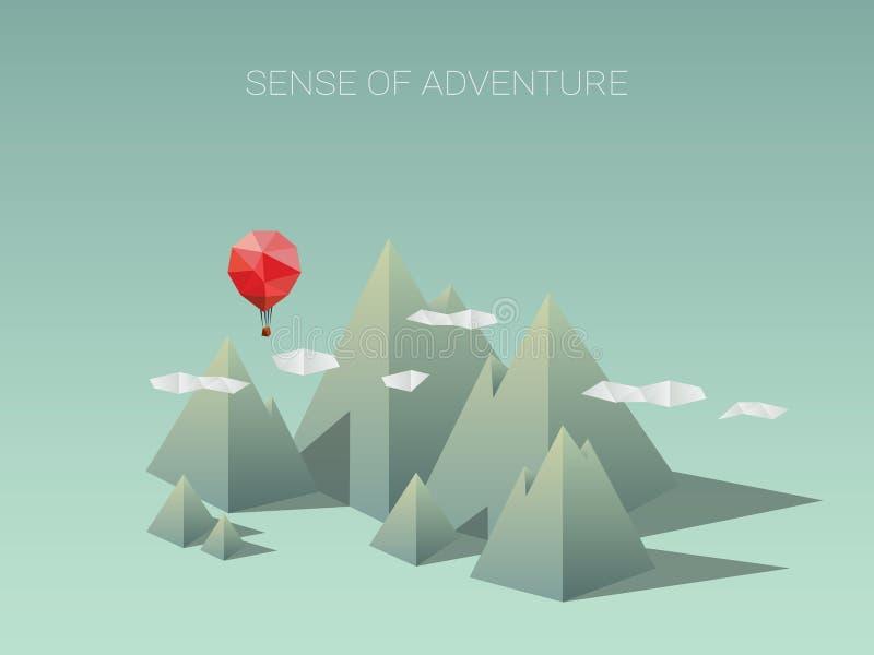Polygonal σειρά βουνών με το κόκκινο μπαλόνι Σύγχρονη χαμηλή πολυ έννοια σχεδίου για το ταξίδι και την περιπέτεια διανυσματική απεικόνιση