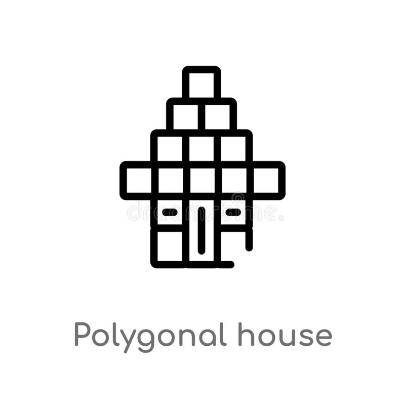 polygonal σπίτι ή σπίτι περιλήψεων που χτίζει το διανυσματικό εικονίδιο απομονωμένη μαύρη απλή απεικόνιση στοιχείων γραμμών από τ ελεύθερη απεικόνιση δικαιώματος