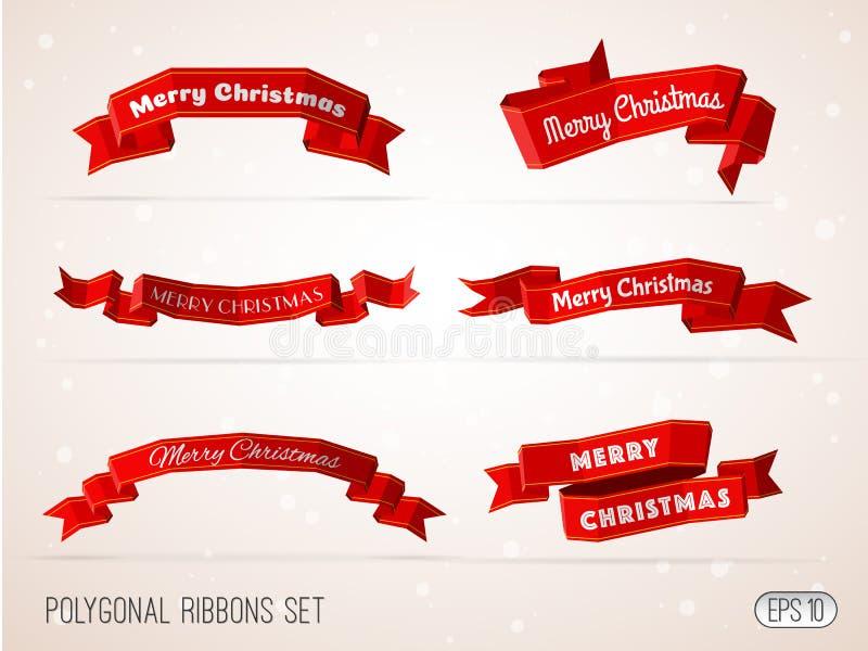 Polygonal συλλογή κορδελλών Χαρούμενα Χριστούγεννας κόκκινη ελεύθερη απεικόνιση δικαιώματος