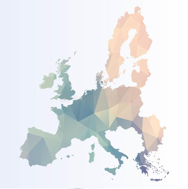 Polygonal χάρτης της ΕΕ διανυσματική απεικόνιση