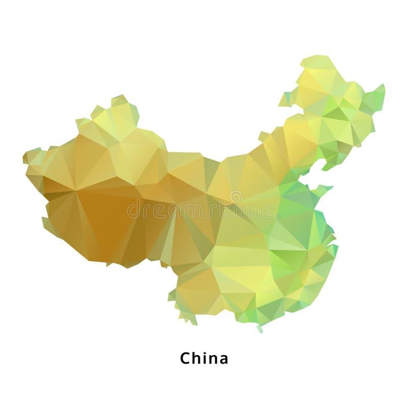 Polygonal χάρτης της Κίνας, γεωμετρικός χάρτης πολυγώνων, που απομονώνεται, διάνυσμα διανυσματική απεικόνιση