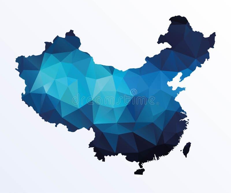 Polygonal χάρτης της Κίνας ελεύθερη απεικόνιση δικαιώματος