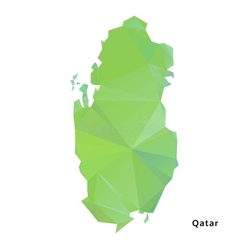 polygonal χάρτης του Κατάρ, γεωμετρικός χάρτης πολυγώνων, διάνυσμα ελεύθερη απεικόνιση δικαιώματος