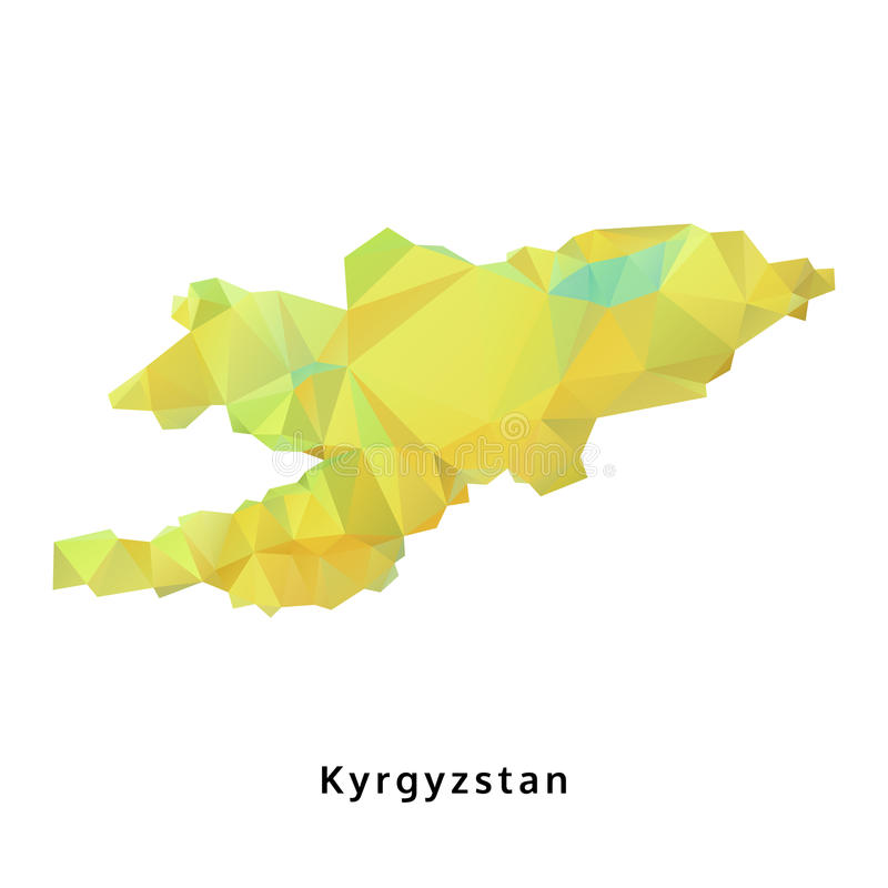 Polygonal χάρτης του Κιργιστάν, γεωμετρικός πράσινος χάρτης πολυγώνων, που απομονώνεται απεικόνιση αποθεμάτων